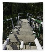 Wooden Steps Coming Down From A Watchtower Fleece Blanket