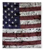 Wooden Textured U. S. A. Flag Fleece Blanket