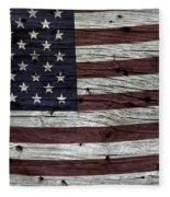 Wooden Textured Usa Flag3 Fleece Blanket