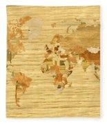Wooden World Map 2 Fleece Blanket