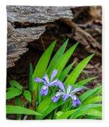 Woodland Dwarf Iris Wildflowers Fleece Blanket