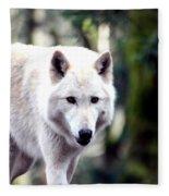 Woodland White Wolf 2 Fleece Blanket