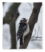 Woodpecker In Winter Fleece Blanket