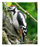 Woodpecker Swallowing A Cherry  Fleece Blanket