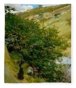 Woodpile In Landscape  Fleece Blanket