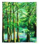 Woodside View Green Fleece Blanket
