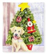 Woof Merry Christmas Fleece Blanket