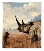 Woolly Rhino And A Marmot Fleece Blanket