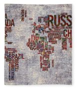 World Map Typography Artwork Fleece Blanket