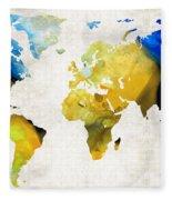 World Map 16 - Yellow And Blue Art By Sharon Cummings Fleece Blanket