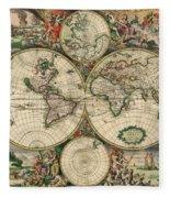 World Map 1689 Fleece Blanket