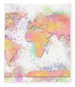 World Map 2 Digital Watercolor Painting Fleece Blanket