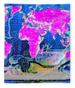 World Map And Aphrodite Fleece Blanket