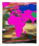 World Map And Human Life Fleece Blanket