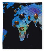World Map And Sagittarius Constellation Fleece Blanket