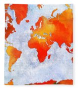 World Map - Citrus Passion - Abstract - Digital Painting 2 Fleece Blanket