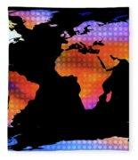 World Map Colourful Dots  Fleece Blanket