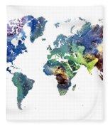 World Map Cosmos Fleece Blanket