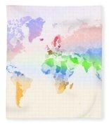 World Map Crumpled Multi-coloured Fleece Blanket