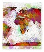 World Map Digital Watercolor Painting Fleece Blanket