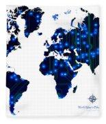 World Map In Blue Lights Fleece Blanket