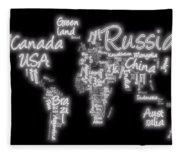 World Map In Text Neon Light Fleece Blanket