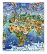 World Map Of World Wonders Fleece Blanket
