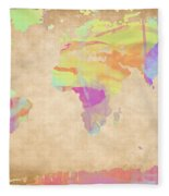 World Map Pastel Watercolors Fleece Blanket