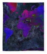 World Map - Purple Flip The Dark Night - Abstract - Digital Painting 2 Fleece Blanket