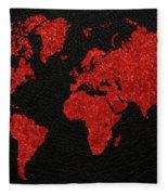 World Map Red Fabric On Dark Leather Fleece Blanket