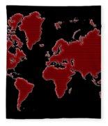 World Map Red Grid Fleece Blanket