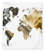 World Map Sandy World Fleece Blanket