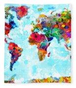 World Map Spattered Paint Fleece Blanket