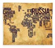 World Map Typography 6 Watercolor Painting Fleece Blanket