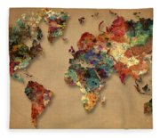 World Map Watercolor Painting 1 Fleece Blanket