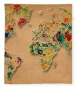 World Map Watercolor Painting 2 Fleece Blanket