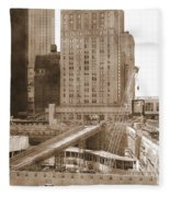 World Trade Center Reconstruction Vintage Fleece Blanket
