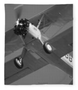 Stearman Trainer Bi Plane Black And White Fleece Blanket