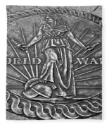 World War II Medallion Bw Fleece Blanket
