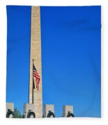 World War II Memorial And Washington Monument Fleece Blanket