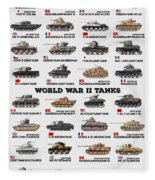 World War II Tanks Fleece Blanket
