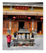 Worshipers In Urn Courtyard Of Chinese Temple Shanghai China Fleece Blanket