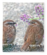 Wren Bird Sweethearts Fleece Blanket