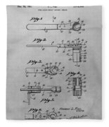 Wrench Patent Drawing Fleece Blanket