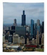 Wrigley And Us Cellular Fields Chicago Baseball Parks 3 Panel Composite 01 Fleece Blanket