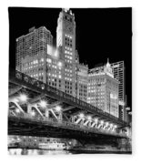 Wrigley Building At Night In Black And White Fleece Blanket