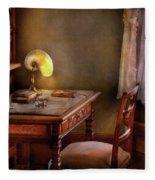 Writer - Desk Of An Inventor Fleece Blanket