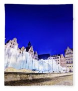 Wroclaw Poland The Market Square And The Famous Fountain At Night Fleece Blanket
