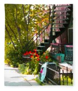 Wrought Iron Fence Balcony And Staircases Verdun Stairs Summer Scenes Carole Spandau  Fleece Blanket