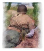 Ww II Us Army Soldier Photo Art Fleece Blanket